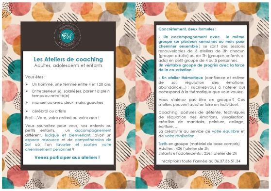 Flyer Ateliers coaching créatif than sylvie enfant adolescent adulte confiance en soi estime de soi croire en soi oser développement personnel