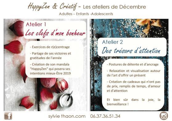 Affiche ateliers loisirs créatifs décembre noël cadeau art thérapie coaching par l'art créativité sylvie thaon fréjus saint raphaël var