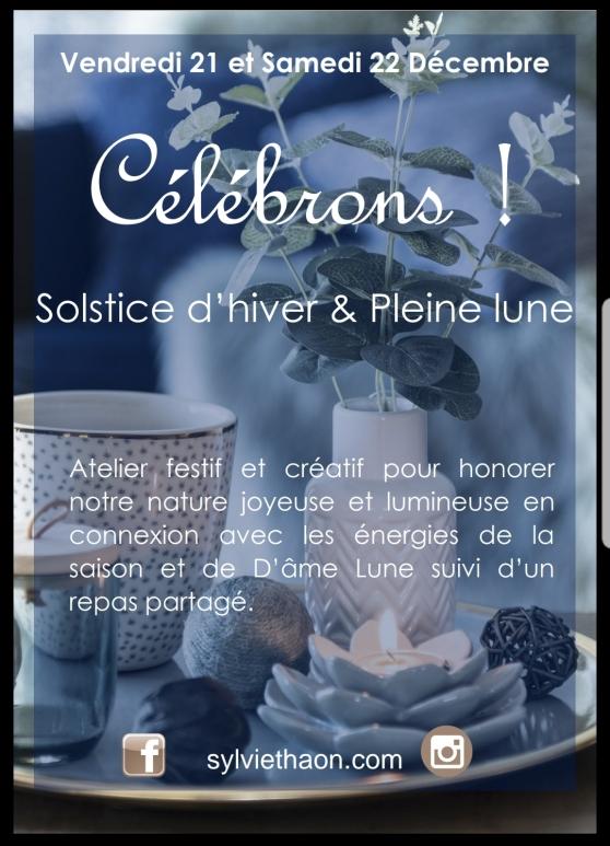 Solstice dhiver pleine lune célebrer atelier art therapie creativité sylvie thaon coaching frejus saint raphael var