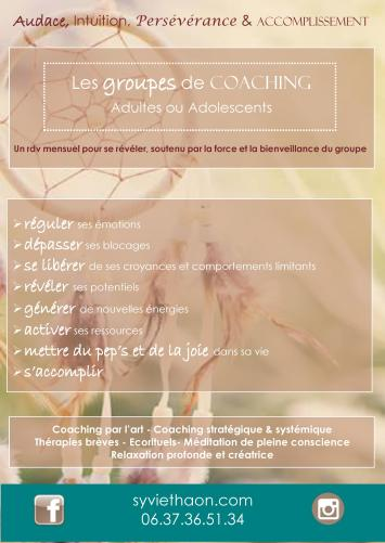 Les groupes de coaching sylvie thaon psychologue fréjus saint raphael var artthérapeute thérapie brève coach développement personnel adultes adolescents parents enfants