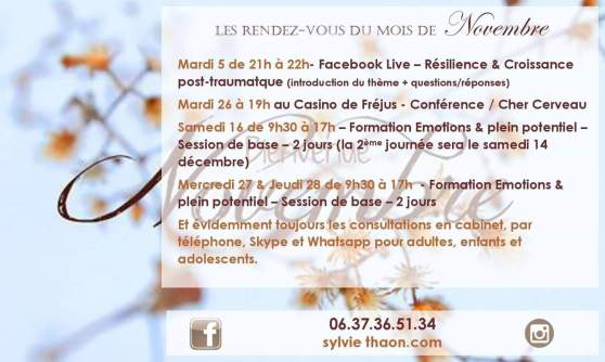 Facebook live conference formation emotion croissance post traumatique resilience coach de vie coaching therapie breve emdr sophrologue hypnotherapeute developpement personnel sylvie thaon frejus draguignan var cannes alpes maritimes
